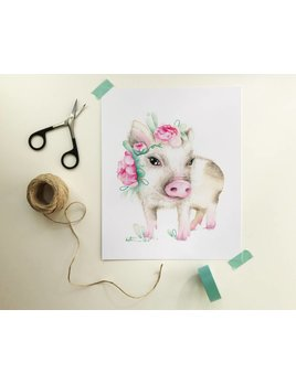 Katrinn Pelletier Illustration Small Pig with Flowers Illustration