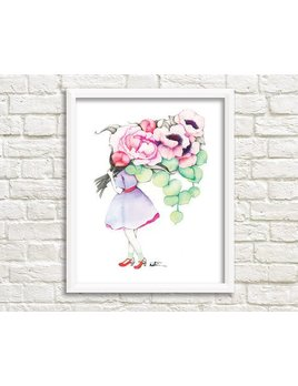 Katrinn Pelletier Illustration Affiche Femme Fleuriste Anémone