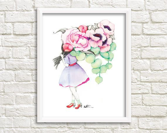Katrinn Pelletier Illustration Peonies and Anemones Florist Illustration