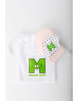 Munch Mitt Pastel Pink Hearts Teething Mitten