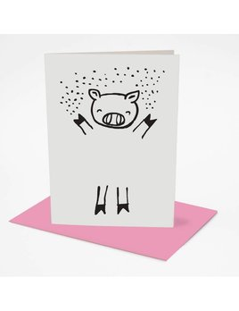 Wee Gallery Dress up Pig Greeting Card