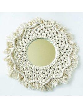 Moussey Round Macrame Flower Mirror