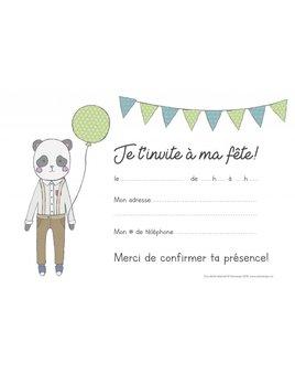 Ensemble Cartons d'Invitation Panda