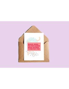 Oui Manon Greeting Card Souhaits Beaux, Bons pis Fins