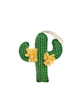 Indaba Yellow Flowers Cactus Felt Ornament