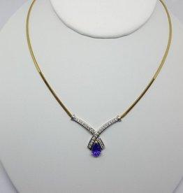 C 18kt Tanzanite & Diamond Necklace