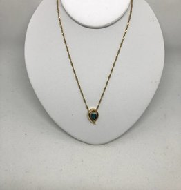 C 14kt Black Opal Pendant Necklace