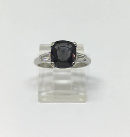 Platinum Color Change Garnet & Diamond Ring
