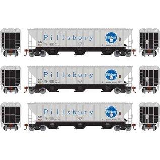 Athearn ATH18758 PS 4740 Pillsbury Cov. Hoppers Cars, 3-Pk