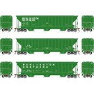 Athearn ATH18766 PS 4740 B.N. Cov. Hoppers Cars, 3-Pk