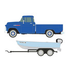 Classic Metal Works 40012 '57 Chevy PU w/Boat Trailer, HO Scale