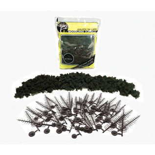 Woodland Scenics TR1113 Realistic Forest Green Tree Kit, 24 Pines