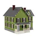 MTH 30-90591 Farm House w/ Op. Christmas Lights Green w/ Black Shutters