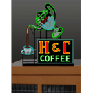 Miller Engineering 7881 H & C Coffee Animated Neon Billboard Sign