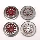 """Model Engineering Works AO-1000 AF Red Electric """"O"""" Gauge Wheel Set, 4Pcs"""