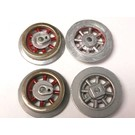 Model Engineering Works 261E-WR, Wheel Set for 261, 262 Loco, Red Spoke, 4 Pcs