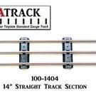 """USA Track LLC 100-1404 14"""" Straight Track Section, 4-ties, USA"""