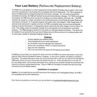 JW&A 10500 - Your Last Battery, Railsounds Batt. Replacement