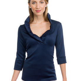 Gretchen Scott Navy Jersey Ruffneck Top