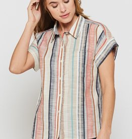 Velvet Heart Multistripe Edison Short Sleeve Button Down