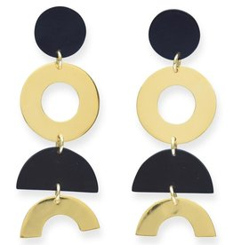 Ink + Alloy Black + Brass Dangle Half Circle Earrings