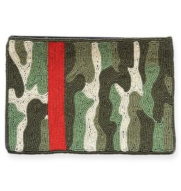 Ink + Alloy Green Camo With Red Stripe Beaded Clutch