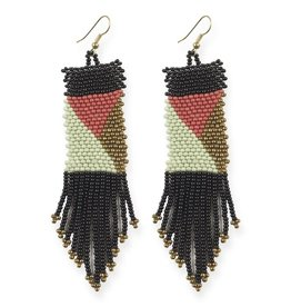 Ink + Alloy Geo Pattern Seed Bead Earrings