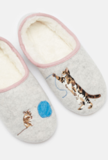 Joules Grey Cat & Mouse Slippers