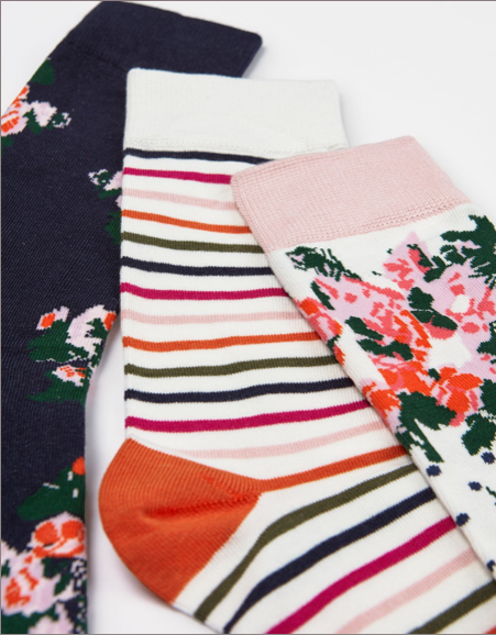 Joules White Multi Floral Socks