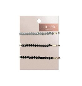 Kitsch Black with Gray Beaded Metal Bobby Pins
