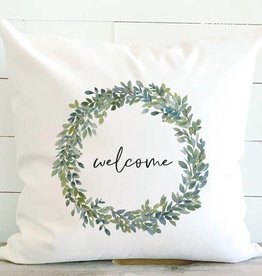 Indigo Tangerine Welcome Boxwood Wreath Canvas Pillow