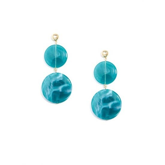Teal Swirled Double Drop Earrings