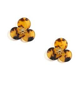 Tortoise Lotus Stud Earrings