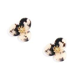 Black & Tan Tortoise Lotus Stud Earrings