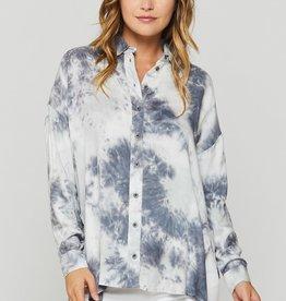 Velvet Heart Riva Grey Tie Dye Button-Up Shirt