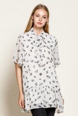 Mittoshop Dot and Floral Print Tie Neck Tunic Blouse