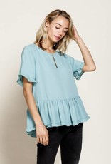 Mittoshop Wool Dobby Keyhole Front Ruffled Top