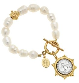 Susan Shaw Gold and Silver Bee Italian Coin on Genuine Freshwater Pearl Bracelet