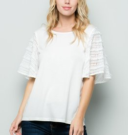 See And Be Seen White Lace Sleeve Knit Top