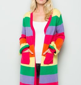 See And Be Seen Rainbow Stripe Long Cardigan