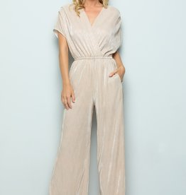 See And Be Seen Gold Metallic Pleats Jumpsuit