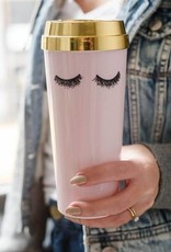 Sweet Water Decor Pink Eyelashes Gold Travel Mug