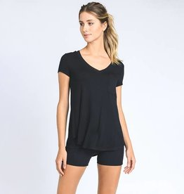 Mono B Black Longline Deep V-Neck Pocket Shirt