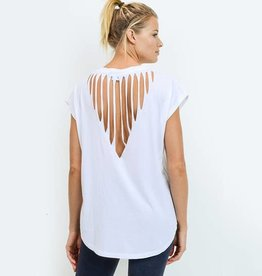 Mono B White Webbed Cut-Out Back Athleisure Top