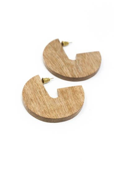 Rover & Kin Mango Wood Disc Earrings