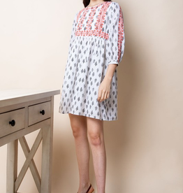 THML Clothing Printed Embroidered Dress
