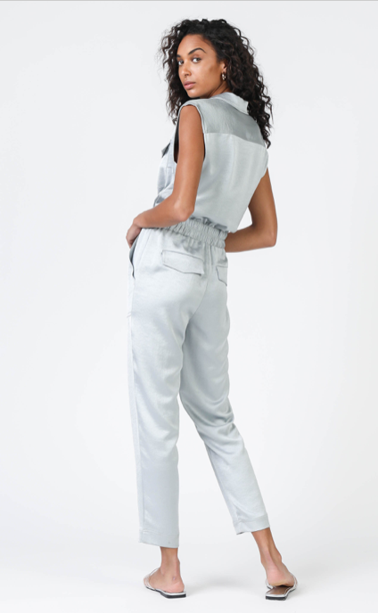 Current Air Grey Sleeveless Button Down Jumpsuit