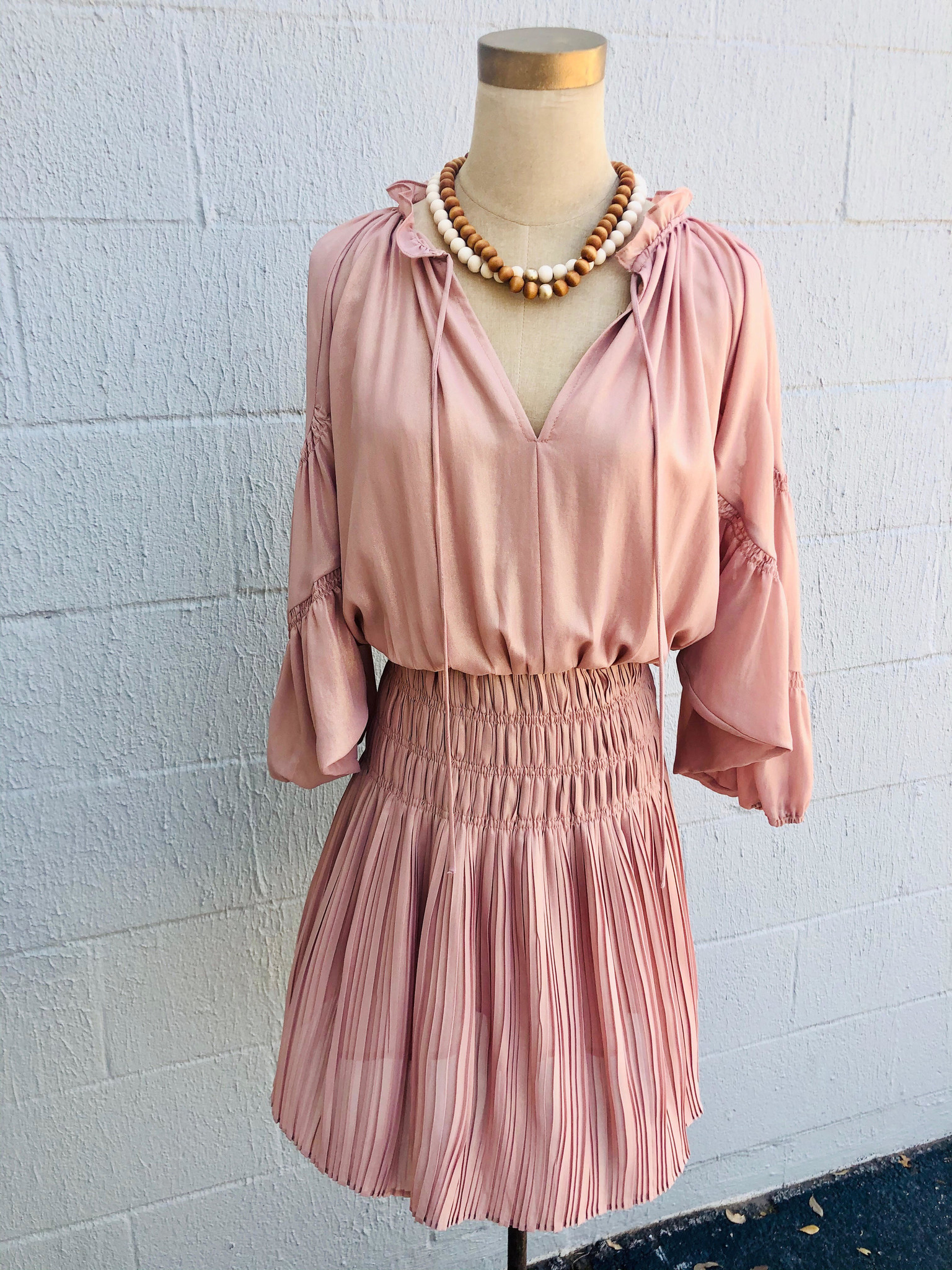 Current Air Peach Gold Smocked Detail Pleated Mini Dress