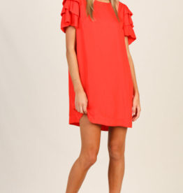 Skies Are Blue Red Ruffle Sleeve Dress