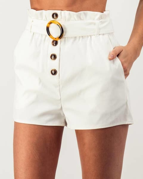 Urban Daizy White Belted Paperbag Shorts